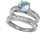 Original Star K Round Simulated Aquamarine Wedding Set