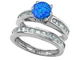 Original Star K Round Created Blue Opal Wedding Set