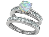 Original Star K™ Round Simulated Opal Wedding Set style: 305960