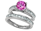 Original Star K™ Round Created Pink Sapphire Wedding Set