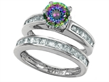Original Star K™ Round Rainbow Mystic Topaz Wedding Set