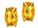 Tommaso Design Checkerboard Cushion Cut Genuine Citrine Earrings