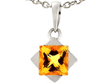 Tommaso Design 6mm Square Genuine Citrine Pendant
