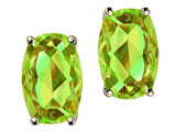 Tommaso Design™ Checkerboard Cushion Cut Genuine Peridot Earrings