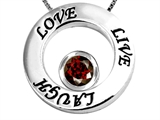 Original Star K Live/Love/Laugh Circle of Life Pendant with January Birthstone Round 7mm Genuine Garnet