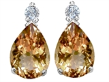 Original Star K Pear Shape 8x6 mm Simulated Imperial Yellow Topaz Earring Studs
