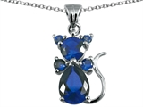 Original Star K Cat Pendant With Created Sapphire