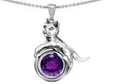 Star K™ Cat Lover Pendant Necklace with February Birth Month Simulated Amethyst style: 305984
