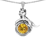 Original Star K Cat Lover Pendant with November Birthstone Genuine Citrine