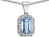 Original Star K 10x8mm Emerald Cut Simulated Aquamarine Pendant
