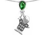Star K™ Boy Holding a Balloon Mother May Birth Month Pear Shape Simulated Emerald Pendant Necklace style: 305994