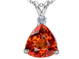 Original Star K Large 12mm Trillion Cut Simulated Mexican Orange Fire Opal Pendant
