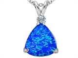Original Star K™ Large 12mm Trillion Cut Blue Simulated Opal Pendant style: 305998