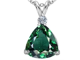 Original Star K Large 12mm Trillion Cut Simulated Emerald Pendant