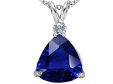 Original Star K™ Large 12mm Trillion Cut Simulated Sapphire Pendant style: 306004