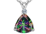 Original Star K Large 12mm Trillion Cut Rainbow Mystic Topaz Pendant