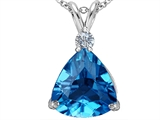 Original Star K Large 12mm Trillion Cut Simulated Blue Topaz Pendant
