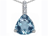 Original Star K Large 12mm Trillion Cut Simulated Aquamarine Pendant