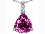 Original Star K™ Large 12mm Trillion Cut Created Pink Sapphire Pendant