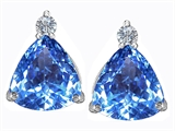 Original Star K™ 7mm Trillion Cut Simulated Blue Topaz Earrings Studs style: 306029