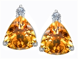 Original Star K™ 7mm Trillion Cut Simulated Citrine Earrings Studs style: 306030