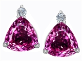 Original Star K 7mm Trillion Cut Created Pink Sapphire Earring Studs