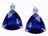 Original Star K 7mm Trillion Cut Created Sapphire Earring Studs