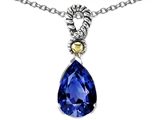 Star K™ Pear Shape 11x8mm Created Sapphire Pendant Necklace style: 306045
