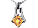 Tommaso Design Quality Square Cut Genuine Citrine Pendant