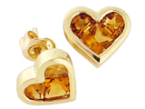 Tommaso Design Invisible Set Genuine Citrine Heart Earring Studs