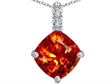 Original Star K Large 12mm Cushion Cut Simulated Mexican Orange Fire Opal Pendant