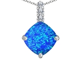 Star K™ Large 12mm Cushion Cut Blue Created Opal and Cubic Zirconia Pendant Necklace style: 306053