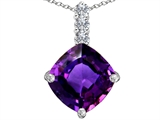 Star K™ Large 12mm Cushion Cut Simulated Amethyst Pendant Necklace style: 306060