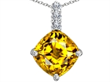 Original Star K Large 12mm Cushion Cut Simulated Citrine Pendant