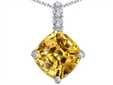 Star K™ Large 12mm Cushion Cut Simulated Imperial Yellow Topaz Pendant Necklace style: 306068