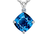 Original Star K Large 12mm Cushion Cut Simulated Blue Topaz Pendant