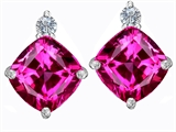 Original Star K™ 7mm Cushion Cut Created Pink Sapphire Earrings Studs style: 306086