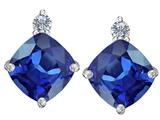 Original Star K™ 7mm Cushion Cut Created Sapphire Earrings Studs style: 306088