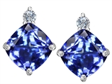 Original Star K 7mm Cushion Cut Simulated Tanzanite Earring Studs