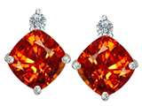 Original Star K 7mm Cushion Cut Simulated Mexican Orange Fire Opal Earring Studs