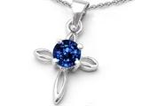 Original Star K™ Round Created Sapphire Cross Pendant style: 306098