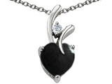 Original Star K Heart Shape 8mm Simulated Black Onyx Pendant
