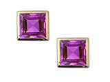 Tommaso Design Square Small Genuine Amethyst Earrings