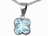Tommaso Design™ Genuine Aquamarine Clover Pendant