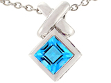Tommaso Design™ 6mm Square Cut Genuine Blue Topaz Pendant