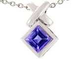 Tommaso Design 6mm Square Cut Genuine Iolite Pendant