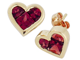 Tommaso Design Invisible Set Genuine Garnet Heart Earring Studs