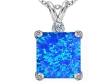 Star K™ Large 12mm Square Cut Blue Created Opal Pendant Necklace style: 306111