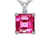 Star K™ Large 12mm Square Cut Created Pink Sapphire Pendant Necklace style: 306113