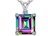 Original Star K Large 12mm Square Cut Rainbow Mystic Topaz Pendant